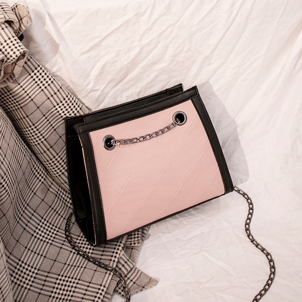 Plain Chain Strapped Messenger Bags - Pink