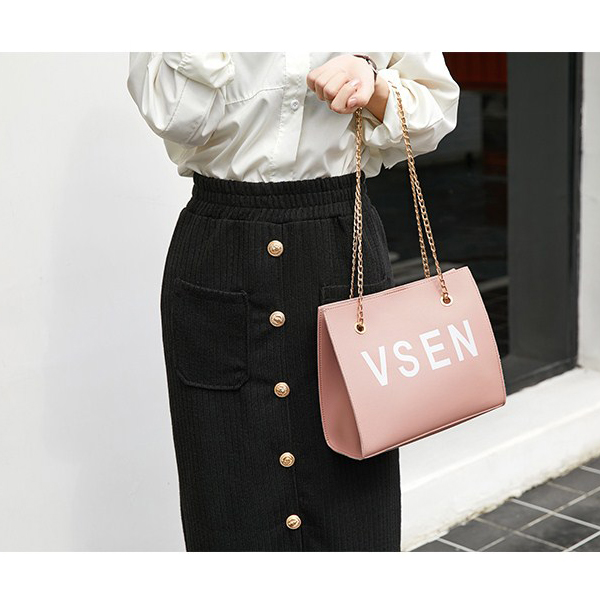 Chain Strapped Text Prints Messenger Bags - Black