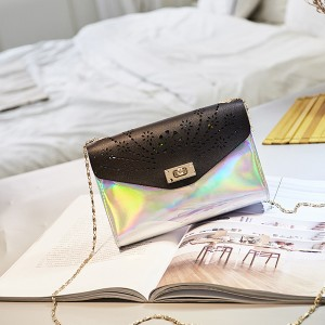 Holographic Engraved Chain Messenger Bags - Black