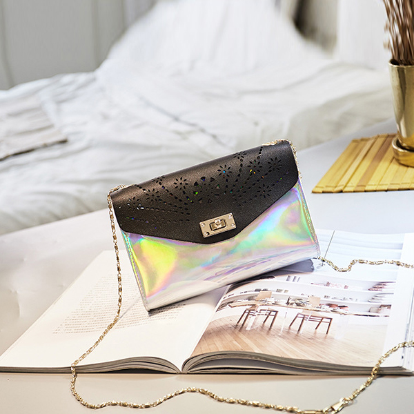 Holographic Engraved Chain Messenger Bags - Pink