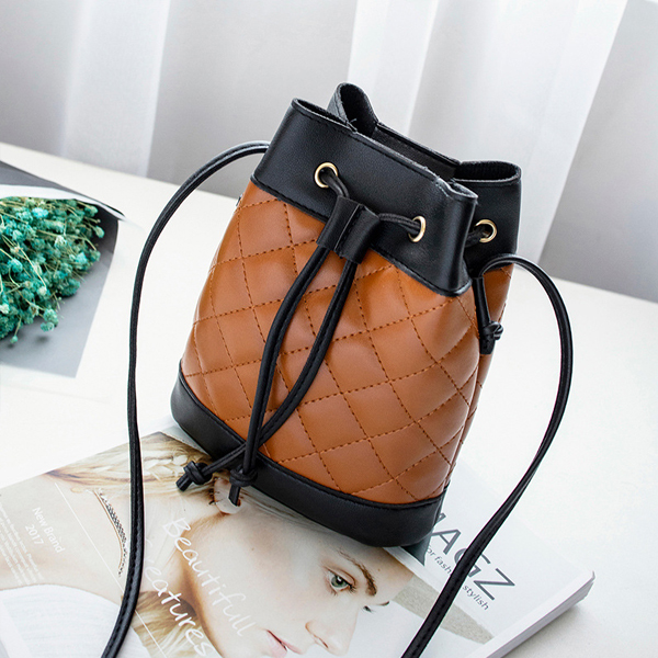 Drawstring Belt Closure Bucket Shoulder Bags - Brown