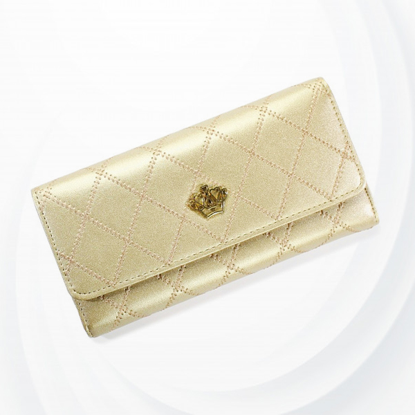 Crown Patchwork Stitched Foldable Handy Wallet - Golden