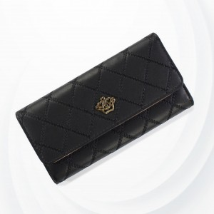 Crown Patchwork Stitched Foldable Handy Wallet - Black