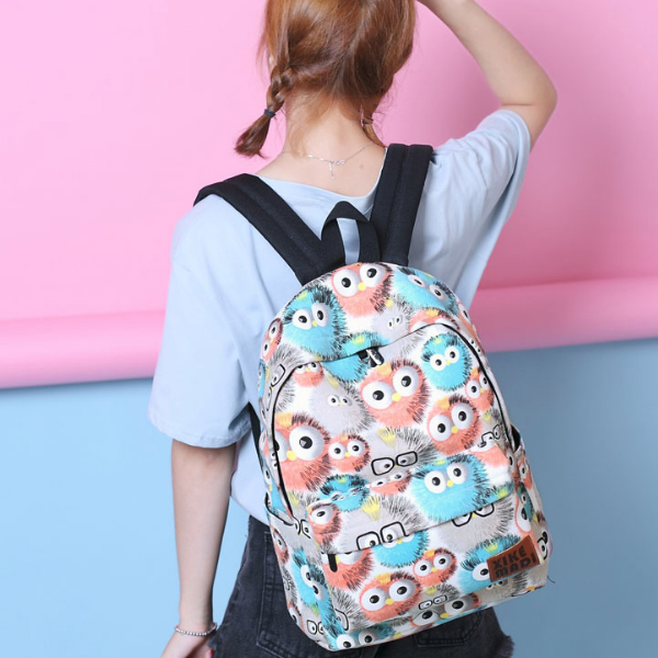 Cartoon Prints Multicolor Student Backpacks
