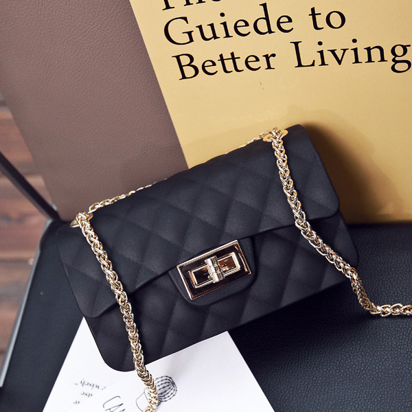 Patchwork Chain Strapped Party Shoulder Bags - Black