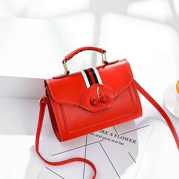 Cherry Cute Contrast Office Bags - Red