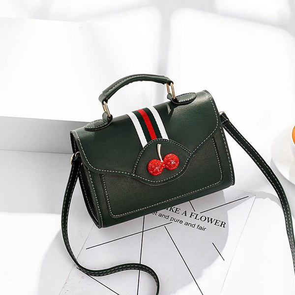 Cherry Cute Contrast Office Bags - Green