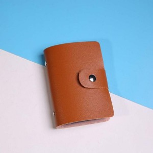 Titch Button Closure Card Wallet - Brown