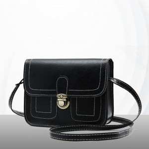 Press Lock Square Messenger Bags - Black