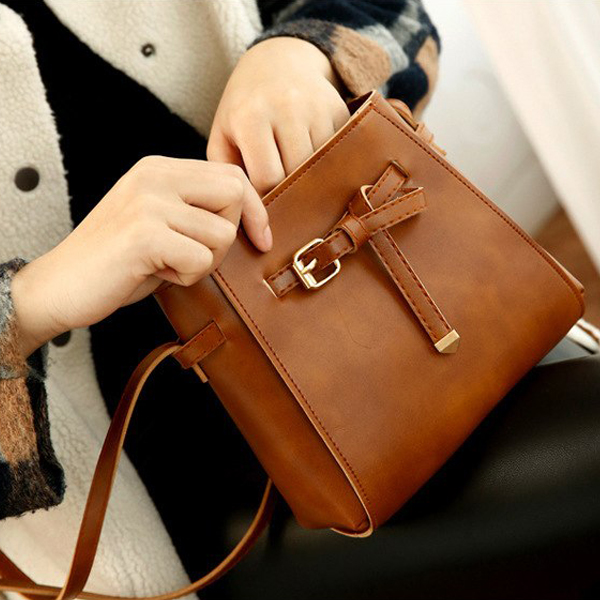 Buckle Drawstring Belt Style Shoulder Bags - Brown