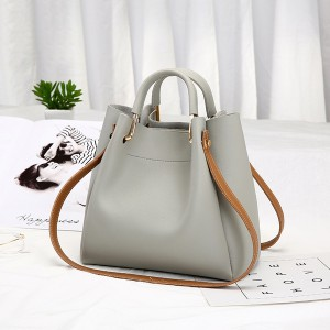 Zipper Closure Formal Vertical Shoulder Bags - Grey