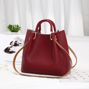 Zipper Closure Formal Vertical Shoulder Bags - Burgundy