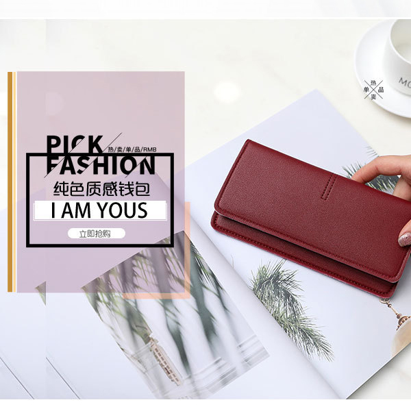 Titch Closure PU Leather Smart Money Wallet - Red