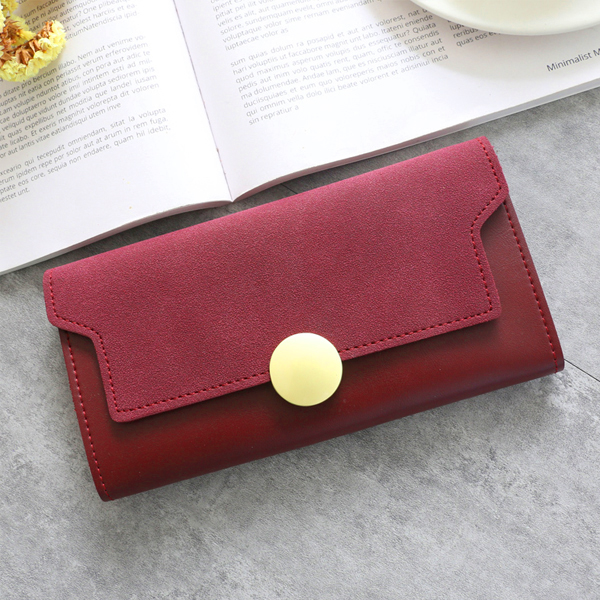 Classic Coin Patch Card And Money Wallet - Burgundy