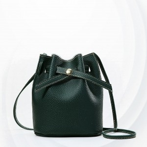 Drawstring Belt Closure Bucket Shoulder Bags - Green