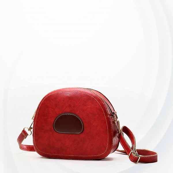 Zipper Small Round Buckle Strapped Shoulder Bags - Red