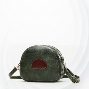 Zipper Small Round Buckle Strapped Shoulder Bags - Green