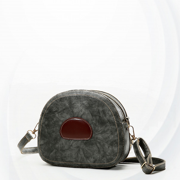 Zipper Small Round Buckle Strapped Shoulder Bags - Grey
