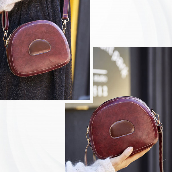 Zipper Small Round Buckle Strapped Shoulder Bags - Burgundy