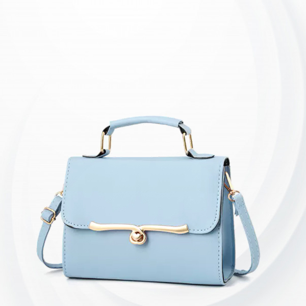 Roller Heart Lock Square Shape Messenger Bag - Blue