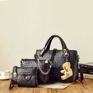 PU Leather Fashionable Messenger Four Bags Set Black