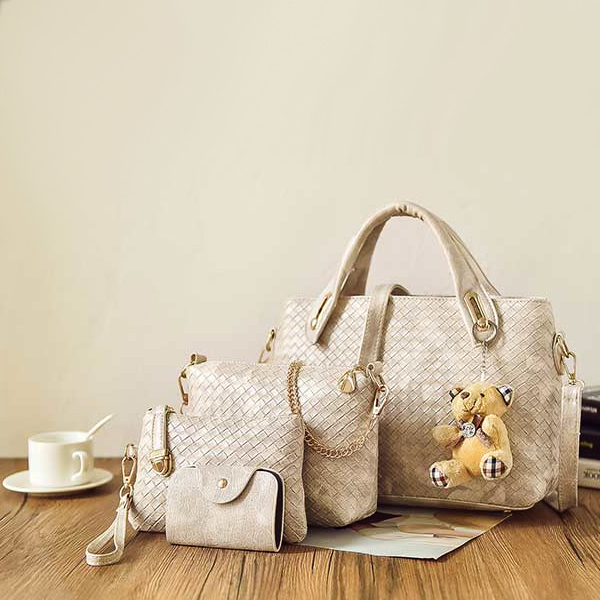 PU Leather Fashionable Messenger Four Bags Set White