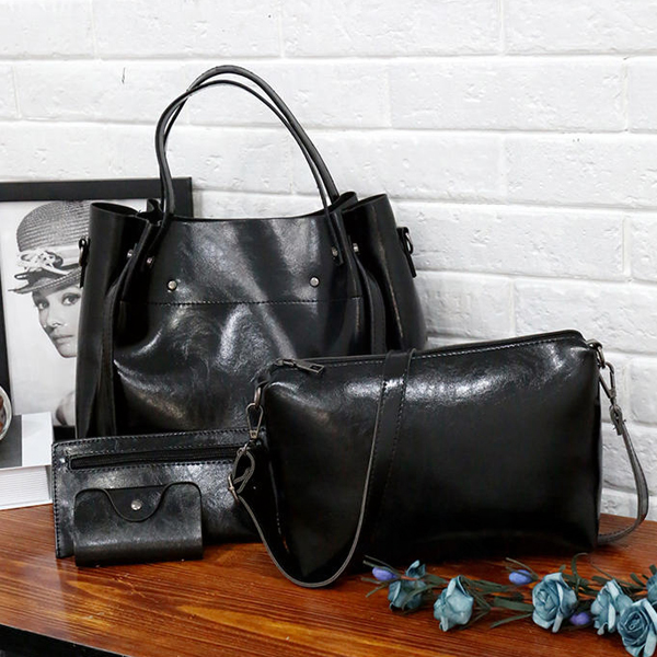 Formal Large Space Four Pieces Handbags Set - Black