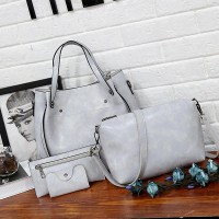 Formal Large Space Four Pieces Handbags Set - Grey