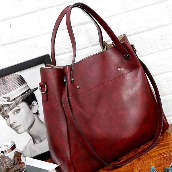 Formal Large Space Four Pieces Handbags Set - Burgundy
