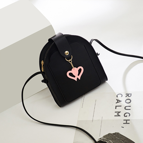 Double Hearts Round Messenger Strap Bags - Black