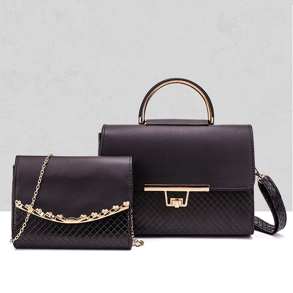 Two Pieces PU Leather Chain Strap Bags Set - Black