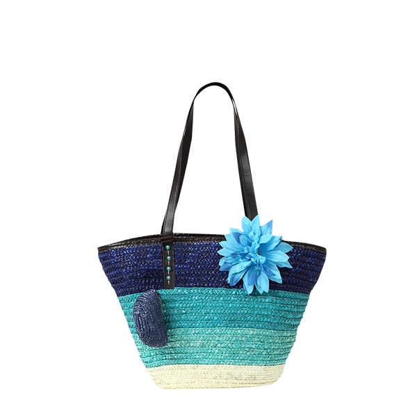 Large Flower Woven Bag Beach Style Ladies Handbag Blue