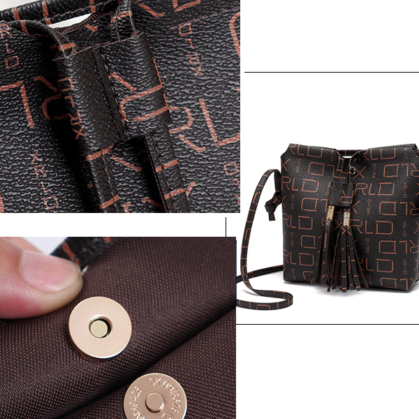 Alphabetical Prints Tassel Messenger Bags
