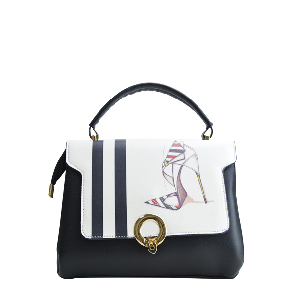 Black And White Fashionable Printed Handbag