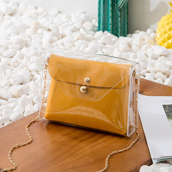 Chain Mini Transparent Jelly Messenger Bags - Yellow
