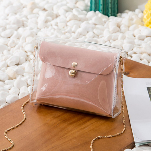 Chain Mini Transparent Jelly Messenger Bags - Pink