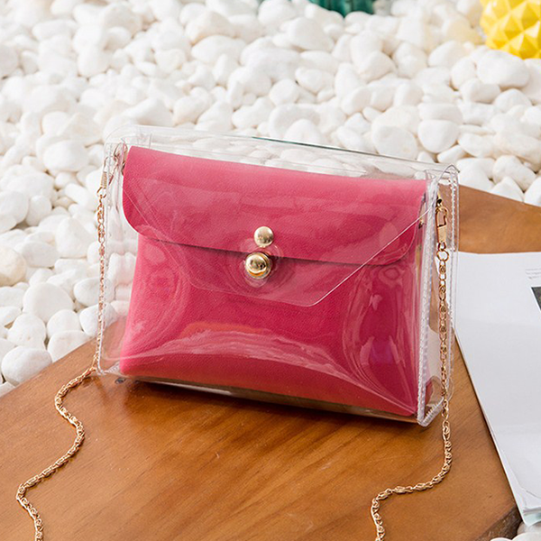 Chain Mini Transparent Jelly Messenger Bags - Hot Pink