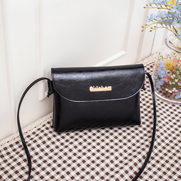 Leather Textured String Strapped Messenger Bags - Black