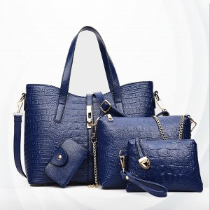 Crocodile Textured Vintage Exclusive Handbags Set - Blue