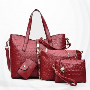 Crocodile Textured Vintage Exclusive Handbags Set - Red