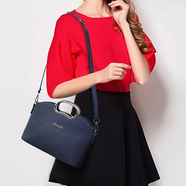 Lining Textured PU Leather Blue Handbags Set