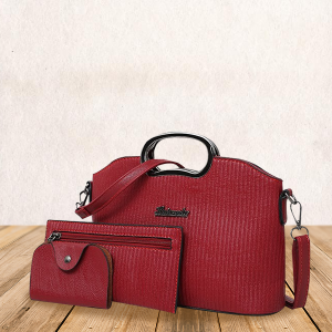 Lining Textured PU Leather Red Handbags Set