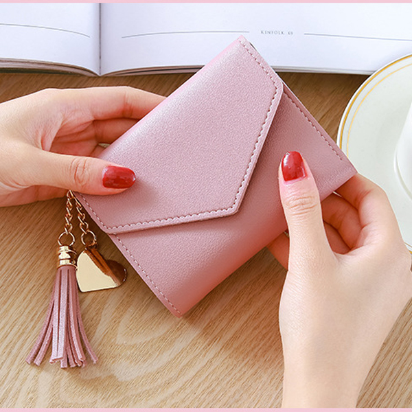 Tassel Mini Card And Money Wallet - Pink