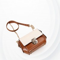 Press Lock Designers Chain Strap Messenger Bags - Brown
