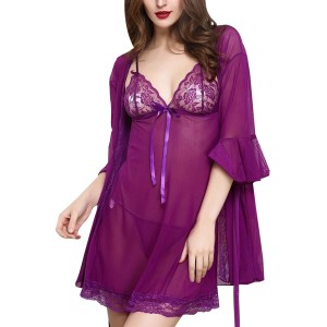 Sexy Beautiful Hot Transparent Lingerie Sleepwear Purple