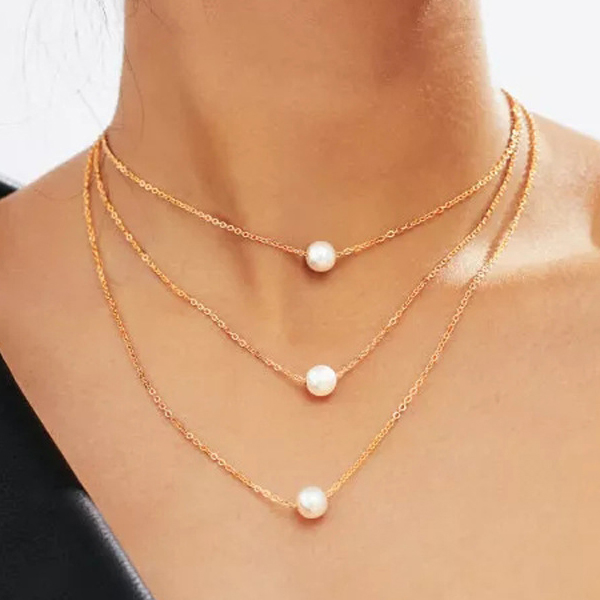 Gold Plated Chain Pearl Three Layered Necklace