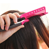 V Folding Hair Straightening Comb - Pink