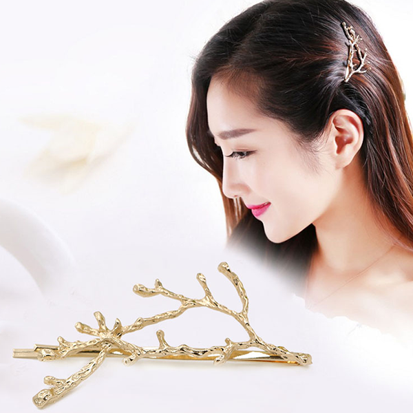 Hair Styling Tree Branch Gold Plated Clip
