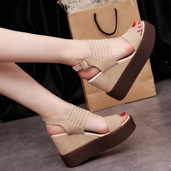 Heavy Bottom Khaki Strappy Sandals
