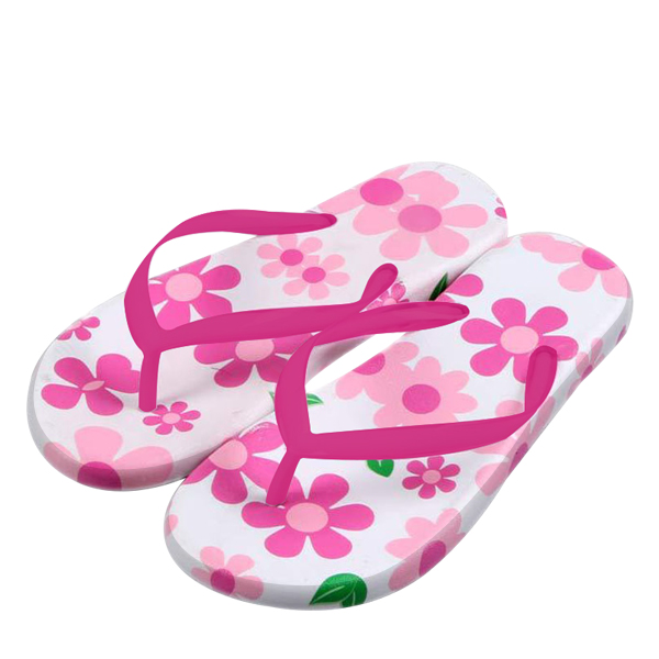 Pink Floral Colorful Flat Beach Slippers